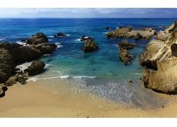 蓝天白云大海海滩沙滩石头景观风景高清图片