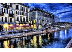 美麗優美水邊城市水城水中建筑小橋流水人家景觀風景高清圖片