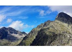 蓝天白云高山景观风景高清图片