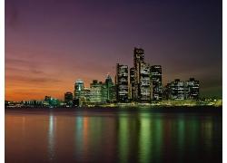 美麗海邊水邊建筑城市濱海城市夜晚景觀夜景美麗風景高清圖片