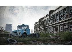 美丽优美废弃汽车废弃房屋废墟景观美丽风景高清图片