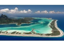蓝天白云海岛海峡湾鸟瞰图景观风景高清图片