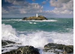 蓝天白云大海海滩沙滩石头海浪大海浪景观风景高清图片