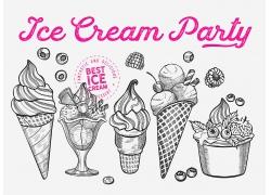 黑白色线描感蛋筒冰淇凌冰淇淋球海报广告素材背景高清矢量图