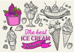 黑白色玫红色线描感冰淇凌点心西式点心海报广告素材背景高清矢量