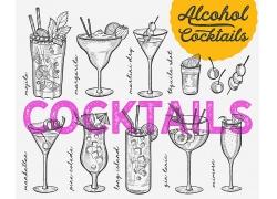 黑白色线描感鸡尾酒冰饮饮料海报广告素材背景高清矢量图