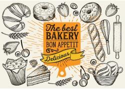 黑白色线描感面包点心西式面包海报广告素材背景高清矢量图