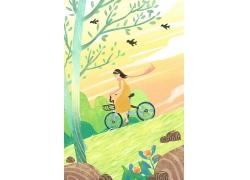 夏天骑车踏青水彩插画