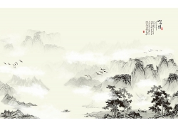 中國風水墨山水畫海報