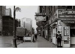 黑白街景圖