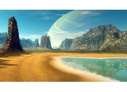 美丽蔚蓝海水大海海边海滩宝石迷阵行星天空岩石景观美景高清图片