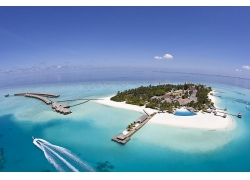 优美美丽海滩沙滩小岛景观美景高清图片