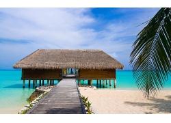 優美美麗大海海上海邊建筑景觀美景高清圖片
