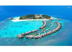 优美美丽海滩海岛蔚蓝大海景观美景高清图片