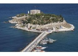 优美美丽海滩海岛大海跨海大桥景观美景高清图片