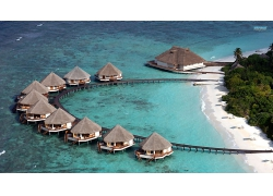优美美丽蔚蓝海滩沙滩建筑景观美景高清图片