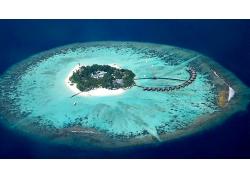 优美美丽海滩大海岛鸟瞰图景观美景高清图片