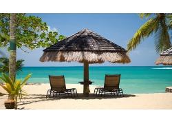 优美美丽小岛海滩沙滩椰树阳光海滩度假村景观海边美景高清图片