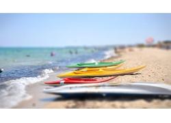 美丽蔚蓝海水大海海边沙滩景观美景高清图片