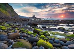 优美美丽海滩沙滩晚霞景观美景高清图片