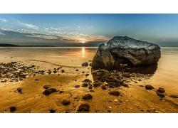 优美美丽大海沙滩日出景观美景高清图片