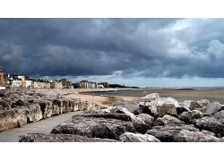 优美美丽海滩海滨城市大海景观美景高清图片