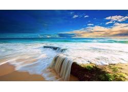 优美美丽小瀑布沙滩海滩岛边景观海边美景高清图片