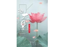 小清新美丽优美幽静荷塘夏季海报设计中国风海报大暑中国传统节日