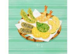 韩国简约手绘美食海报