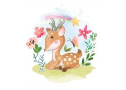 可爱卡通动物水彩画