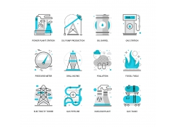 发电厂和石油机械矢量图标