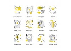 金色大脑图标icon