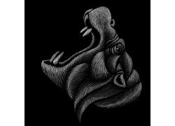 手绘动物头像豹子