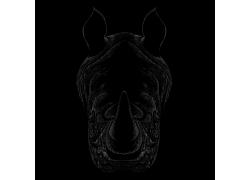 手绘动物头像犀牛