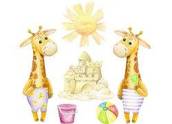 两只长颈鹿插画场景