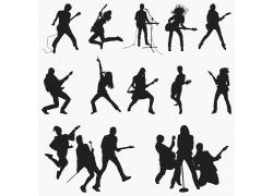 歌手组合剪影黑影
