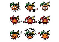 有趣的卡通水果表情图