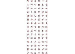 红色渐变线性图标icon