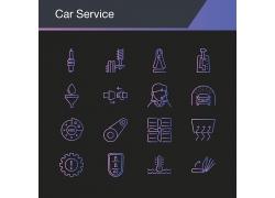 精致矢量描边汽车维修图标图片