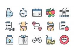 卡通健身减肥游泳图标矢量UI