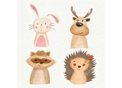 兔子鹿狐狸刺猬清新插画风动物形象装饰插画