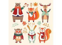 兔子熊狐狸松鼠清新插画风动物形象装饰插画