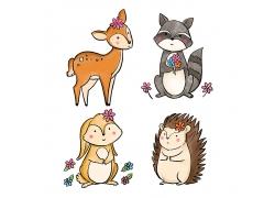 刺猬兔子清新插画风动物形象装饰插画