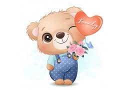 创意精美可爱小熊卡通形象矢量插画元素