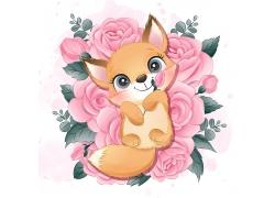 创意精美可爱狐狸卡通形象矢量插画元素