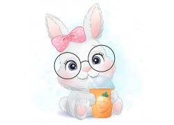 创意精美可爱兔子卡通形象矢量插画元素