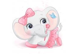 创意精美可爱大象卡通形象矢量插画元素