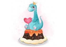 创意精美可爱恐龙卡通形象矢量插画元素