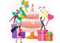 生日蛋糕生日气氛主题矢量插画设计