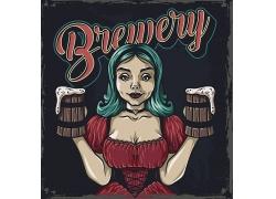 啤酒女郎主题矢量插画设计